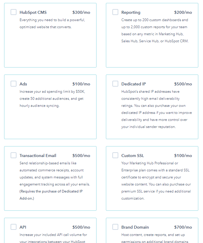 HubSpot software pricing