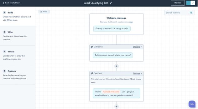 HubSpot sales chatbot example